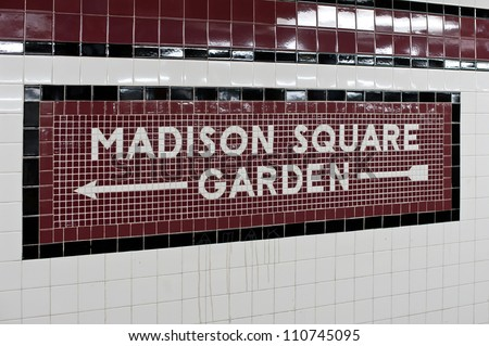 Madison Square Garden - New York city subway sign tile pattern i