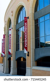 Madison, WI - 13 September 2017:  Camp Randall Stadium with banners showing Wisconsin and Badgers.