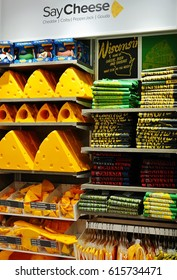 MADISON, WI -5 APR 2017- View of cheese shaped souvenirs in Wisconsin. Cheeseheads is the nickname of the fans of the Green Bay Packers football team.