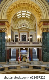 MADISON, WI -5 APR 2017- Interior view of the Wisconsin State Capitol. Completed in 1917, the landmark building houses the office of the Governor, the legislature and the Supreme Court of Wisconsin.