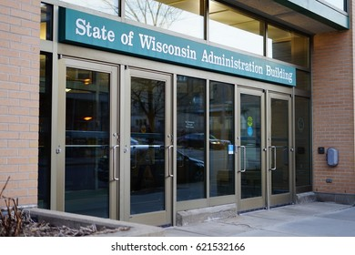 MADISON, WI -5 APR 2017- Exterior view of the State of Wisconsin Municipal Building in downtown Madison, Wisconsin.