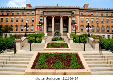 MADISON, WI - JULY 20th, 2014:  The beautiful entrance to the agriculture building at the University of Wisconsin, Madison Campus.