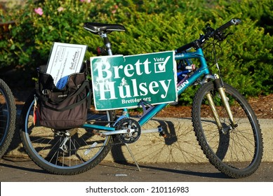 MADISON, WI - JULY 3rd, 2014: Candidate for Wisconsin Brett Hulsey campaigns at the University of Wisconsin's Memorial Union Terrace.
