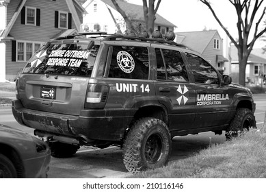 MADISON, WI - JUNE 26th, 2014: Madison locals prepare for the imminent zombie apocalypse with high tech zombie combatant vehicles