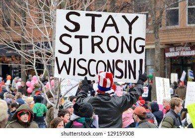 MADISON, WI - MARCH 3:Protesters in Wisconsin during a rally against Governor Scott Walker's budget bill on Mar 3, 2011. Walker has won the recall election, but he still faces a new election next year