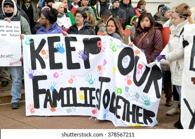 MADISON, WI, USA - February 18, 2016 - Thousands of people protest new anti-immigration legislation in Wisconsin