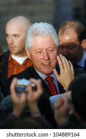 MADISON, WI-FEB. 14:President Bill Clinton greets a crowd of admirers following a speech in support of Hillary Clinton's Democratic presidential primary nomination on February 14, 2008 in Madison, WI.