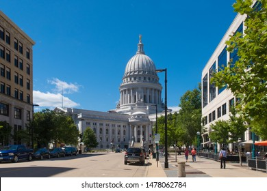 Madison, Wisconsin - 8 August 2019: a sunny morning near the captiol and surrounding buildings