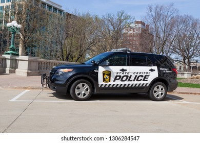 MADISON, WISCONSIN - May 10, 2014:  A black and white Wisconsin State Capitol Police vehicle parked at the capitol building in Madison, WI on May 10, 2014.