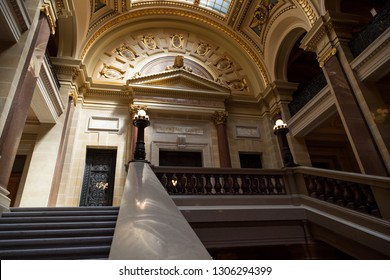 MADISON, WISCONSIN - May 10, 2014:  Looking up the railing and stairs to the entrance to the Supreme Court in the capital building in Madison, WI on May 10, 2014.