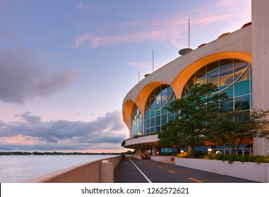Madison Wisconsin USA - August 14, 2018: The Monona Terrace Community and Convention Center at sunset. Originally designed by Wisconsin native Frank Lloyd Wright and was built in 1997.