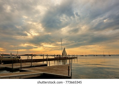 Madison Wisconsin, USA - July 11, 2017: Memorial Union at Lake Mendota at sunset, on the campus of the University of Wisconsin–Madison in Madison, Wisconsin.