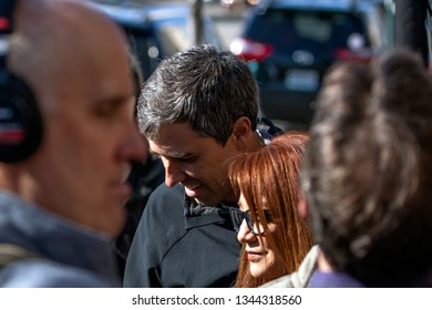 Madison, Wisconsin / USA - March 17 2019: Former Texas congressman and Democratic presidential candidate Beto O'Rourke greets supporters outside Cargo Coffee Shop on St. Patrick's Day in Madison, Wisc