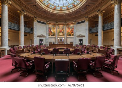 MADISON, WISCONSIN, USA: November 13, 2017:  Wisconsin State Senate chamber in the Wisconsin State Capitol