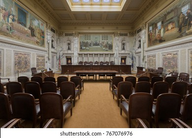 MADISON, WISCONSIN, USA: November 13, 2017:  Wisconsin State Supreme Court courtroom in the Wisconsin State Capitol