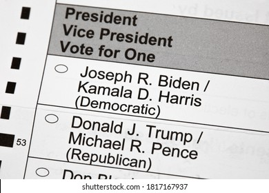 Madison, Wisconsin / USA - September 17 2020: An unmarked 2020 presidential election voting ballot up close.