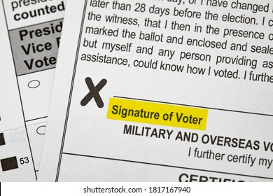 Madison, Wisconsin / USA - September 17 2020: A 2020 presidential election voting ballot highlighting the required signature for absentee voting.