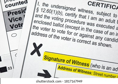 Madison, Wisconsin / USA - September 17 2020: A 2020 presidential election voting ballot highlighting the required witness signature for absentee voting.