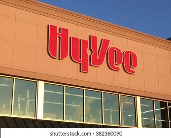 MADISON, WI/USA - February 19, 2016: The facade of the Hyvee Supermarket on the west side of Madison, Wisconsin. Hyvee is an employee-owned chain of 240 supermarkets headquartered in Des Moines, Iowa.