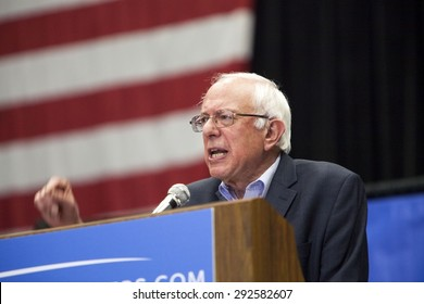 MADISON, WI/USA - July 1, 2015: U.S. Senator Bernie Sanders (I -Vermont) speaks at a presidential campaign rally in Madison, Wisconsin front of a crowd of over 10,000 people.