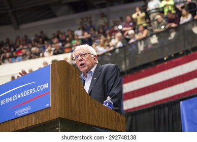 MADISON, WI/USA - July 1, 2015: Senator Bernie Sanders speaks to a crowd of over 10,000 during a campaign rally in Madison, Wisconsin, on July 1, 2015.