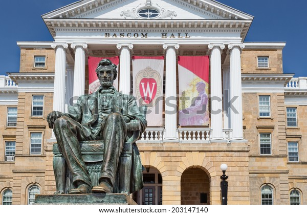 MADISON, WI/USA - JUNE 26, 2014: Bascom Hall on the campus of the University of Wisconsin-Madison. The University of Wisconsin is a Big Ten University in the United States.