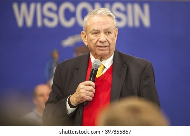 MADISON, WI/USA - March 28, 2016: Former Republican Governor Tommy Thompson speaks on behalf of Republican presidential candidate John Kasich during a town hall  before the Wisconsin primary.