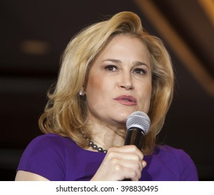 MADISON, WI/USA - March 28, 2016: Heidi Cruz, the wife of Republican presidential hopeful Ted Cruz, speaks to a group of supporters during a free public rally in Madison, Wisconsin.