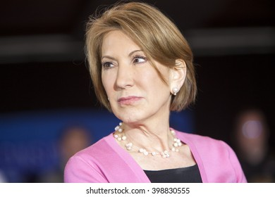 MADISON, WI/USA - March 30, 2016: Former Republican presidential candidate Carly Fiorina at a free public rally for presidential candidate Ted Cruz in Madison, Wisconsin.