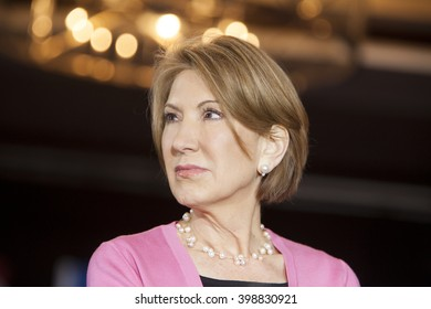 MADISON, WI/USA - March 30, 2016: Former Republican presidential candidate Carly Fiorina listens during a free public rally for presidential candidate Ted Cruz in Madison, Wisconsin.