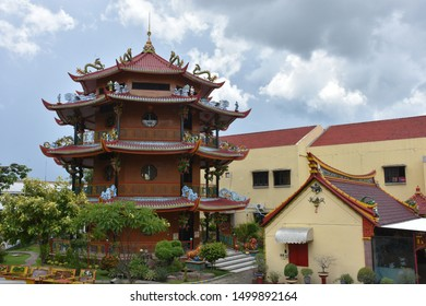 Madiun city, East Java, indonesia. March 02, 2019 : Tri Dharma Hwie Ing Kiong Temple is a temple which has a very beautiful 3-story pagoda building, in which there is an altar with the top three level