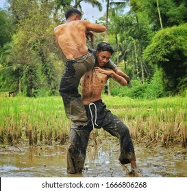 Madiun, March 2020 - Practicing pencak silat to maintain the cultural heritage of Indonesian ancestors