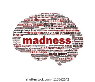 Madness mental health icon design. Insanity message concept