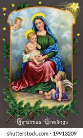 Madonna and Christ Child on a starry night - a Victorian Christmas card illustration