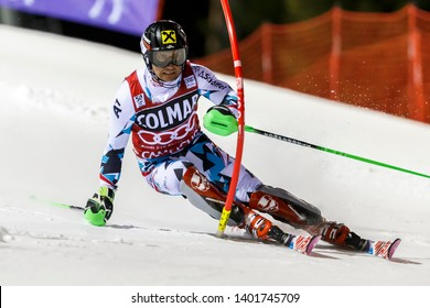Madonna di Campiglio, Italy 22 December 2016.  HIRSCHER Marcel (Aut) competing in the Audi Fis Alpine Skiing World Cup Men's Slalom on the 3Tre Canalone Miramonti Course in the dolomite mountain range