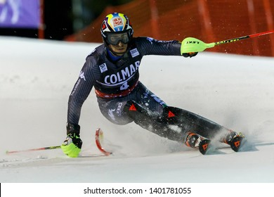 Madonna di Campiglio, Italy 22 December 2016.  Gross Stefano (Ita) competing in the Audi Fis Alpine Skiing World Cup Men's Slalom on the 3Tre Canalone Miramonti Course in the dolomite mountain range.