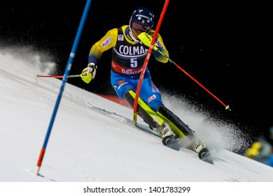 Madonna di Campiglio, Italy 22 December 2016.  MYHRER Andre  (Swe) competing in the Audi Fis Alpine Skiing World Cup Men's Slalom on the 3Tre Canalone Miramonti Course in the dolomite mountain range.