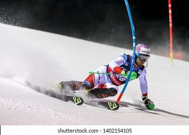 Madonna di Campiglio, Italy 22 December 2016.  AERNI Luca (Aut) competing in the Audi Fis Alpine Skiing World Cup Men's Slalom on the 3Tre Canalone Miramonti Course in the dolomite mountain range.