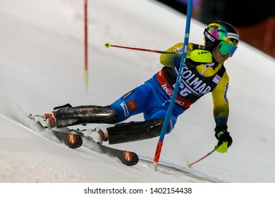 Madonna di Campiglio, Italy 22 December 2016.  BYGGMARK Jens (Swe) competing in the Audi Fis Alpine Skiing World Cup Men's Slalom on the 3Tre Canalone Miramonti Course in the dolomite mountain range.