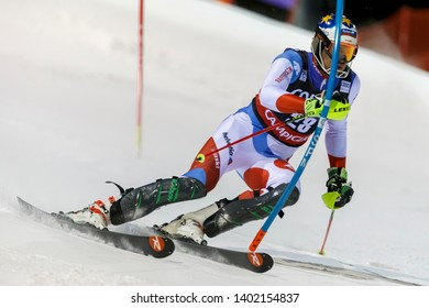 Madonna di Campiglio, Italy 22 December 2016.  ZENHAEUSERN Ramon (Swi) competing in the Audi Fis Alpine Skiing World Cup Men's Slalom on the 3Tre Canalone Miramonti Course in the dolomite mountain .