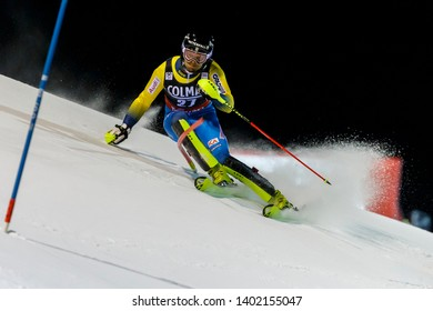 Madonna di Campiglio, Italy 22 December 2016.  LAHDENPERAE Anton (Swe) competing in the Audi Fis Alpine Skiing World Cup Men's Slalom on the 3Tre Canalone Miramonti Course in the dolomite mountain .