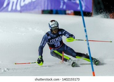 Madonna di Campiglio, Italy 22 December 2016.  BUFFET Robin (Fra) competing in the Audi Fis Alpine Skiing World Cup Men's Slalom on the 3Tre Canalone Miramonti Course in the dolomite mountain range.