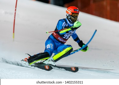 Madonna di Campiglio, Italy 22 December 2016.  HAUGEN Leif Kristian (Nor) competing in the Audi Fis Alpine Skiing World Cup Men's Slalom on the 3Tre Canalone Miramonti Course in the dolomite mountain