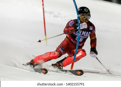 Madonna di Campiglio, Italy 22 December 2016.  KELLEY Robby (Usa) competing in the Audi Fis Alpine Skiing World Cup Men's Slalom on the 3Tre Canalone Miramonti Course in the dolomite mountain range.
