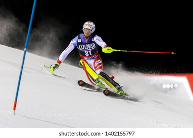 Madonna di Campiglio, Italy 22 December 2016.  GINI Marc (Sui) competing in the Audi Fis Alpine Skiing World Cup Men's Slalom on the 3Tre Canalone Miramonti Course in the dolomite mountain range.