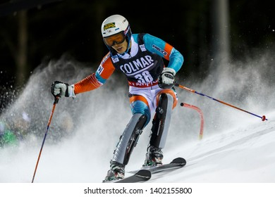 Madonna di Campiglio, Italy 22 December 2016.  YUASA Naoki (Jpn) competing in the Audi Fis Alpine Skiing World Cup Men's Slalom on the 3Tre Canalone Miramonti Course in the dolomite mountain range.