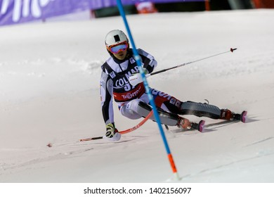 Madonna di Campiglio, Italy 22 December 2016.  JUNG Dong-hyun (Kor) competing in the Audi Fis Alpine Skiing World Cup Men's Slalom on the 3Tre Canalone Miramonti Course in the dolomite mountain range.