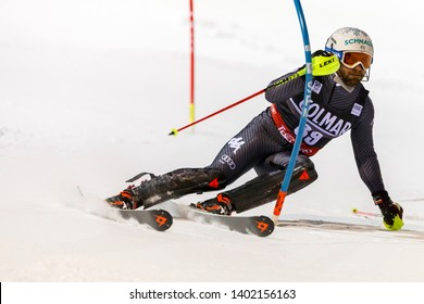 Madonna di Campiglio, Italy 22 December 2016.  TONETTI Riccardo (Ita) competing in the Audi Fis Alpine Skiing World Cup Men's Slalom on the 3Tre Canalone Miramonti Course in the dolomite mountain .