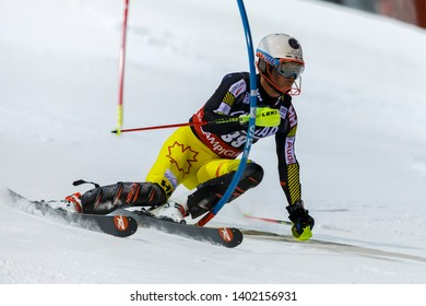 Madonna di Campiglio, Italy 22 December 2016.  PHILP Trevor (Can) competing in the Audi Fis Alpine Skiing World Cup Men's Slalom on the 3Tre Canalone Miramonti Course in the dolomite mountain range.