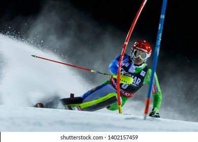 Madonna di Campiglio, Italy 22 December 2016. KRANJEC Zan (Slo) competing in the Audi Fis Alpine Skiing World Cup Men's Slalom on the 3Tre Canalone Miramonti Course in the dolomite mountain range.
